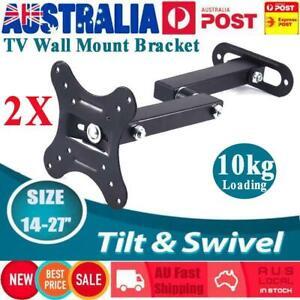 2Pc TV Monitor Wall Mount Bracket Tilt Swivel Mounting Holder Suit go
