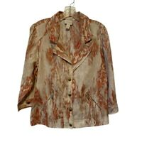 Chicos Womens Suit Jacket Brown Linen Ikat Pockets 3/4 Sleeve Blazer Large/12-14