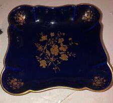 Limoges Cobalt Blue Gold Porcelain Ashtray Made In France