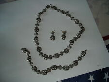Vintage Mexican Sterling Silver Taxco VA Necklace Bracelet Earrings Set