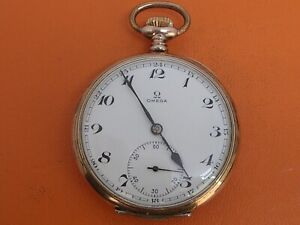 OMEGA .800 SILVER TRIPLE SIGNED 15 JEWEL RUNNING POCKET WATCH CLEAN!!