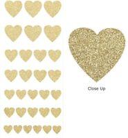 Gold Glitter Love Heart Stickers - Sheet of 30 - Cute Craft Embellishments