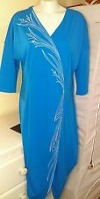 NEW Bob Mackie Wearable Art Blue Beaded Scroll Stitched Maxi Dress Duster Size S
