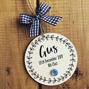 New baby gift personalised boy name plaque sign birth details nursery decor woo