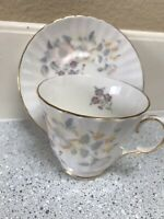 DUCHESS BONE CHINA TEA CUP AND SAUCER ENGLAND BEAUTIFUL FLORAL GOLD TRIM CROWN.