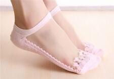 Women Ultrathin Transparent Crystal Silk Lace Elastic Short Ankle Socks Pink