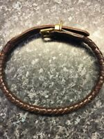 """Handmade Rolled And Plaited  Dark Brown Leather Dog Collar 20- 21"""""""