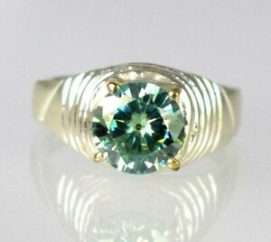 Museum Grade 4.81 Ct Green Diamond Solitaire Men's Special Occasion Ring