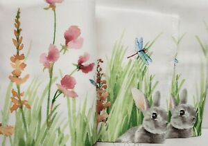 """Printed Linen Tablecloth 60"""" x 84"""" (6-8 people) Oblong, EASTER, BUNNY MEADOW, BM"""