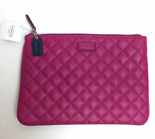 NWT Authentic Coach F66439 Medium Tech Pouch ipad LEATHER QUILTED Case $150. a