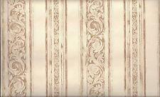 Formal Brown on Cream Scroll Stripe Wallpaper 78619