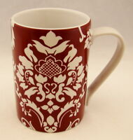 """222 Fifth (PTS) Stoneware DAMASK RED Mug(s) 4 3/8"""" x 3"""" NEW"""