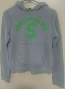 BOYS Abercrombie Kids A&F Sweatshirt Muscle Hoodie XL Grey w/Green Graphic
