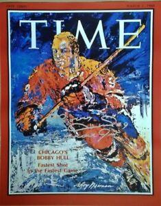 BOBBY HULL AUTOGRAPHED CHICAGO BLACKHAWKS TIME MAGAZINE 16X20 PHOTO
