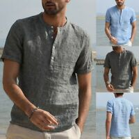 Summer Men Cotton Linen V Neck Short Sleeve Basic Tee T-shirt Casual Tops Blouse