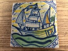 """New listing Antique Polychrome Dutch Ship Under Sail 4"""" Tile intact ca early 1700 Rare"""