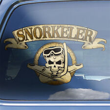 Snorkeler crossbones decal - sea snorkel diving mask fins skull badge sticker