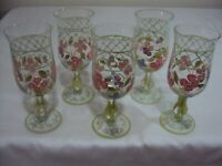 TRACY PORTER HAND PAINTED EVELYN COLLECTION 5 PCS. WINE/GOBLET GLASSWARE UNUSED