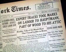 Charles LINDBERGH BABY Murder Trial w/ Hauptmann LADDER Evidence 1935 Newspaper