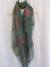 Vintage 1980s Green Pink Floral Print Silkscreen Sari Fabric Saree Crimped Silk