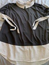 Black and White Polka Dot Tie Sleeve Shirt