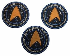 """Star Trek Starfleet UFP Command 3.5"""" Wide Set of 3 Iron-On Embroidered Patches"""