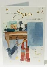 Special SON Birthday Card - Football Gear - 9 x 6.25 Inches Words & Wishes