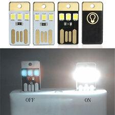 2x White Mini 3 LED Night Light Portable Laptop USB Power Pocket Card Lamp Bulb