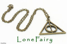 "Harry Potter Deathly Hallows De Bronce Plateado Cadena Collar 18"" asistente Vestido de fantasía"