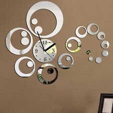 Home decor large mirror sticker wall clock modern design 3D DIY wall clock watch