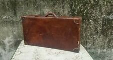 Rustic Antique Brown Leather Suitcase