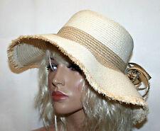 Womens Summer Hat with Flower, Plaited Beach Hat with Wide Brim - Beige/Brown