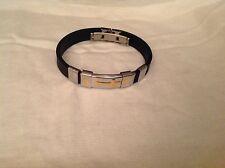 Men's stainless steel black rubber two tone cross bracelet
