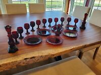 Vintage Avon Ruby Red Cape Cod (Lot of 20) Plates, Goblets, Candlestick, Cruet