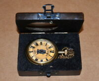 Antique vintage maritime brass pocket watch victoria with wooden & glass box