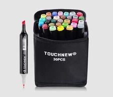 TOUCHNEW 30 Colors Set  Marker Pen Set Dual Head Art Markers Set + Carry Bag