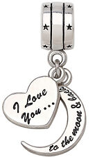 ALOV 925 Sterling Silver I Love You To The Moon and Back Bead For Charm Bracelet