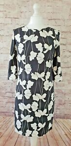Hobbs Black and White Floral Silky Crepe Shift Dress Excellent Condition Size 8