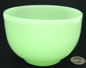 "Vintage French / Czech / Bohemian Green Opaline Glass 4.5"" Footed Bowl"
