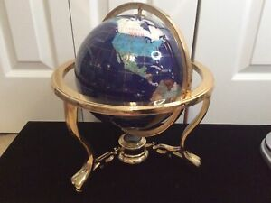 """14"""" Tall Blue Lapis Ocean Gemstone Globe with Tripod Gold Stand & Compass"""