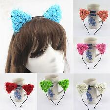 Headwear Fancy Costume Voile Flower Cat Ears Headband Festival Halloween Devil