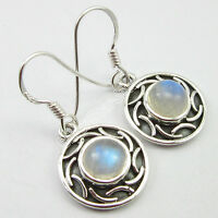 Earrings Blue Fire RAINBOW MOONSTONE Gem 925 Solid Silver Jewelry 1.2""