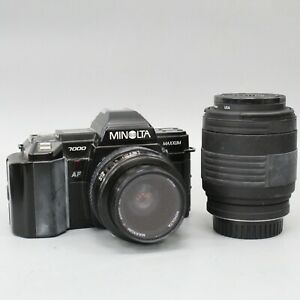 Minolta Maxxum 7000 35mm SLR Film Camera Body With AF Lens 35-70mm & 70-120mm