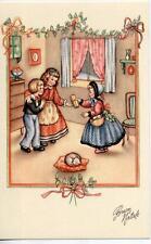 Serie Completa di 6 cartoline Bambini Natale Presepe Bambola PC Circa 1940