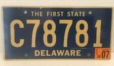 DELAWARE License Plate 👉The First State Smooth Letters C78781 ~MINT~