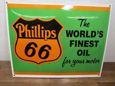 Vtg-Style PHILLIPS 66 16.5 x 12.5 Porcelain Enamel Metal World's Finest Oil Sign