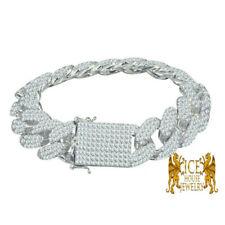 "14k White Gold Tone Miami Cuban Curb Link Men's Full Custom 18 mm Bracelet 8.5"""