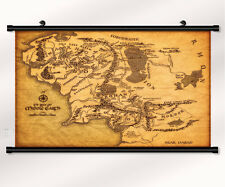 """The Lord of the Rings Map Fabric poster with wall scroll  22"""" x 16"""" Decor 01"""
