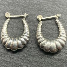 Vintage 925 Sterling Silver Medium Hoop Earrings Scalloped Shrimp Style