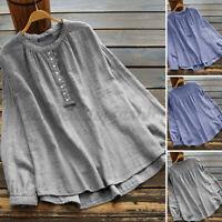 ZANZEA Women Cotton O Neck Long Sleeve Shirt Tops Stripe Button Down Blouse Plus